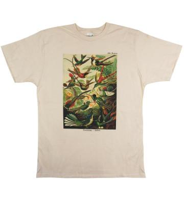tričko bio, béžová přírodní, ilustrace kolibřík